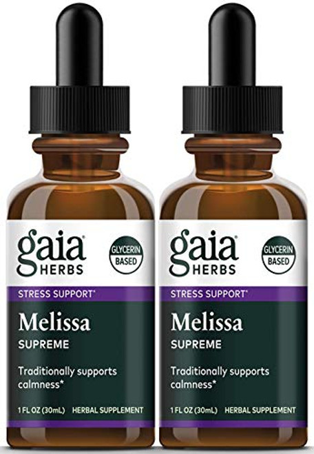 Gaia Herbs Melissa Supreme, Alcohol Free Liquid Herbal Extract, 1 Ounce (Pack of 2) - Calming Attention and Focus Supplement with Lemon Balm & Chamomile