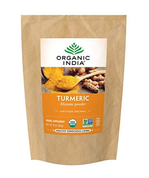 Organic India Turmeric Rhizome Herbal Powder - Immune Support, Healthy Inflammatory Response, Whole Root Supplement, USDA Certified Organic, High Bioavailability Formula - 1 lb Bag