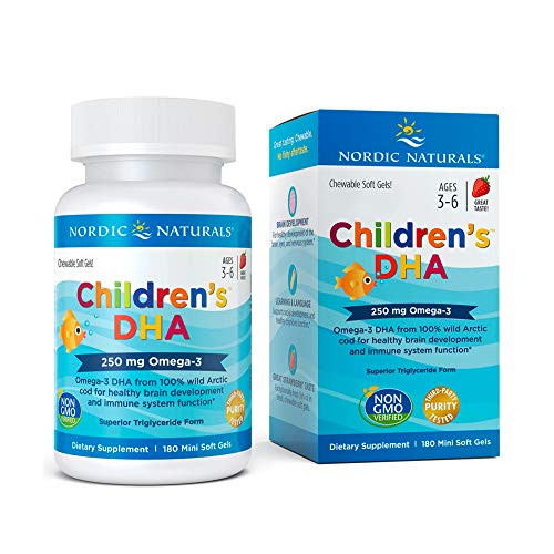 Nordic Naturals Children's DHA, Strawberry - 180 Mini Chewable Soft Gels - 250 mg Omega-3 with EPA & DHA - Brain Development & Function - Non-GMO - 45 Servings