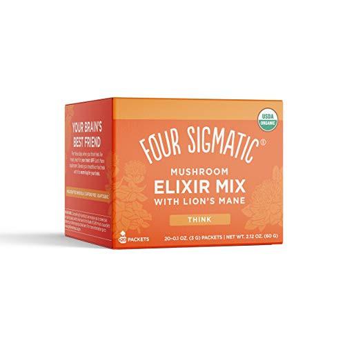 Four Sigmatic Lion's Mane Mushroom Elixir, Organic Lion's Mane Mushroom Powder with Rhodiola & Rose Hips, Immune & Memory Support, Pack of 20