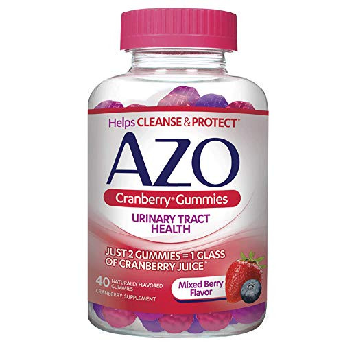 AZO Cranberry Urinary Tract Health Gummies Dietary Supplement 2 Gummies = Glass Cranberry Juice Helps Cleanse Protect Natural Mixed Berry Flavor Gummies, 40 Count, 30 Count