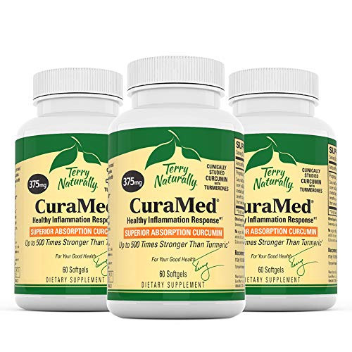 Terry Naturally CuraMed 375 mg (3 Pack) - 60 Softgels - Superior Absorption BCM-95 Curcumin Supplement, Promotes Healthy Inflammation Response - Non-GMO, Gluten-Free, Halal - 180 Servings