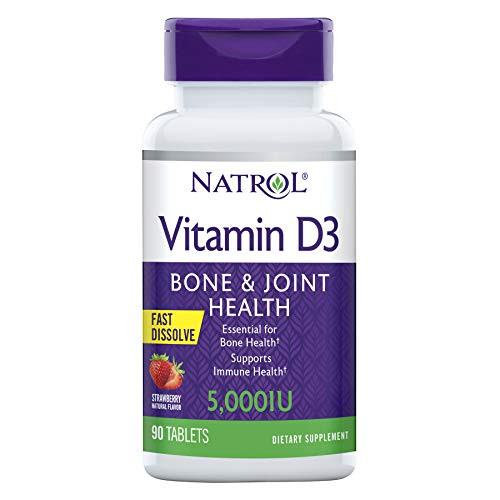 Natrol Vitamin D3 Fast Dissolve 5000 IU Capsules, Support Your Immune Health, Strawberry, 90 Count