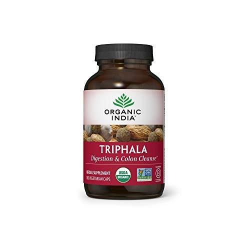 Organic India Triphala Herbal Supplement - Digestion & Colon Support, Immune System Support, Adaptogen, Nutrient Dense, Vegan, Gluten-Free, USDA Certified Organic, Non-GMO - 180 Capsules