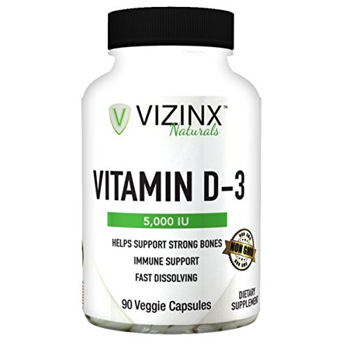 Vizinx D3 5,000 IU / (cholecalciferol) 90 Veggie Capsules, Non-GMO Supports The Immune Systems and enhances Cognitive abilities. Derived from Lanolin Nicknamed The Sunshine Vitamin.