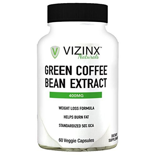 VIZINX Green Coffee Bean Extract 400 MG, 60 Veggie Caps. Suppress Your Appetite and Lose Weight Naturally. Supports as a Fat Blocker and Burner. Standardized to 50% minimum chlorogenic acids.