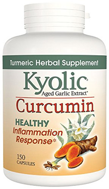 Kyolic Aged Garlic Extract Curcumin Healthy Inflammation Response Supplement, 150 Capsules