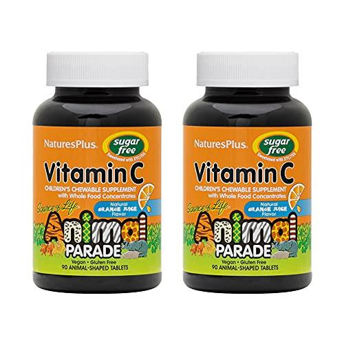 NaturesPlus Animal Parade Source of Life Sugar-Free Children's Vitamin C (2 Pack) - Natural Orange Juice Flavor - 90 Chewable Animal Shaped Tablets - Immune Support - Gluten-Free - 45 Servings