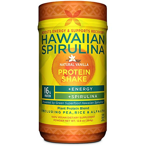 Hawaiian Spirulina Plant Protein Shake, 12.8 Ounce - 16 Gram Protein per serving - Natural Vanilla - Boosts Energy & Supports Recovery - Non-GMO, Vegan, Gluten Free