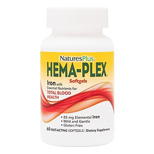 NaturesPlus Hema-Plex Softgels - 85 mg Elemental Iron,60 Count (Pack of 1) Softgels - Fast Acting Supplement For Total Blood Health - Gentle Formula - Gluten-Free - 20 Total Servings