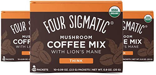 Four Sigmatic Mushroom Mix Coffee Lion's Mane   Think   Pack of 3 (30 Packets Total)