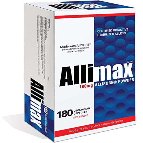 Allimax 180mg 180 Capsules. Supports Your Body's Immune Function Through Natural Allicin, a Potent Organosulphur Compound Extracted from Clean and Sustainable Spanish Grown Garlic.