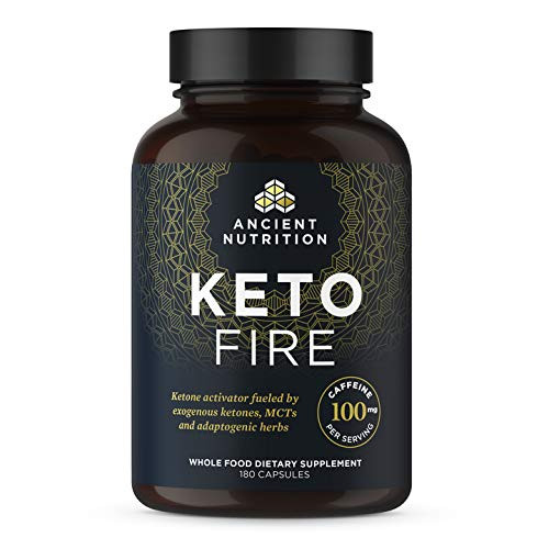 Ancient Nutrition KetoFIRE Capsules, Keto Supplement with BHB Salts as Exogenous Ketones, Electrolytes and Caffeine, Keto Diet, Ketosis Booster, 180 Count…