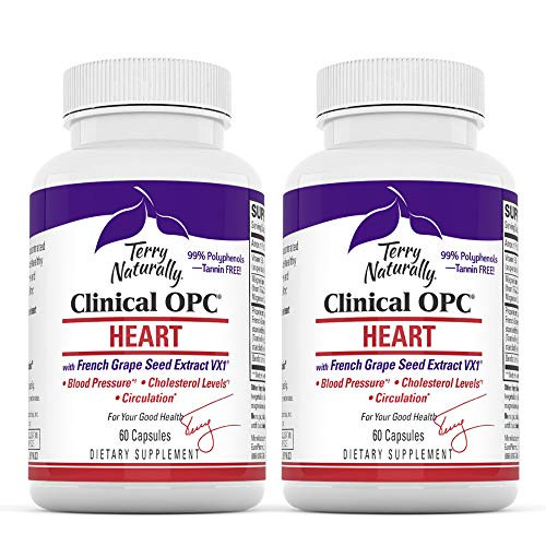 Terry Naturally Clinical OPC Heart (2 Pack) - 600 mg Grape Seed Complex, 60 Vegan Capsules - Cardiovascular Support Supplement, Promotes Healthy Cholesterol Balance - Non-GMO, Gluten-Free - 60 Serving