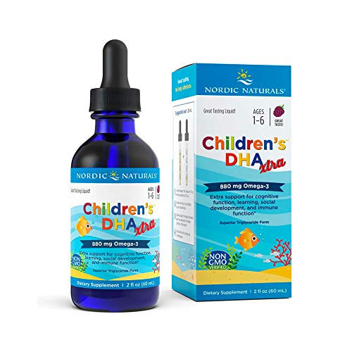 Nordic Naturals Children's DHA Xtra, Berry Punch - 2 oz - 880 mg Total Omega-3s with EPA & DHA - Cognitive & Immune Function, Learning, Social Development - Non-GMO - 48 Servings