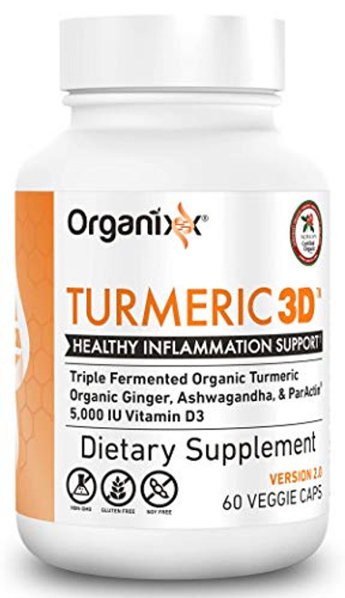 Organixx - Turmeric 3D - Natural Inflammatory Support - 60 Vegetarian Capsules - Powerful Immune Support, Maintain Healthy Joints, Fermented For Maximum Bioavailability