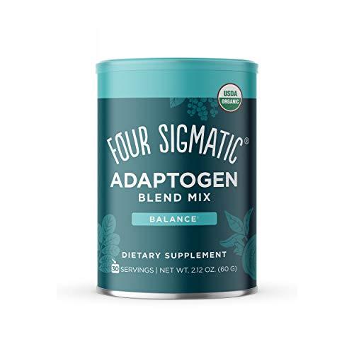 Four Sigmatic Adaptogen Blend, 10 Superfoods Adaptogen Blend Mix with Ashwagandha, Cordyceps, Ginger, Ginseng & Turmeric, Immune & Stress Support, Decaf + Dissolves Easily, 30 Servings