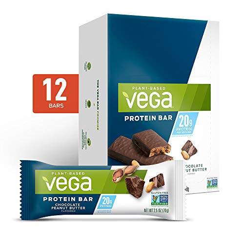Vega 20g Protein Bar High- Plant Based, Vegetarian, Chocolate Peanut Butter, 2.5 Ounce (Pack of 12)