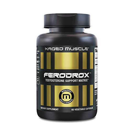 Kaged Muscle, Ferodrox, Ultra-Premium Testosterone Booster with LJ100 Tongkat Ali, KSM-66 Ashwagandha and Shilajit - Supports Testosterone Levels, 60 Count (Pack of 1)