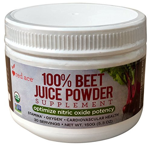Red Ace 100% Certified Organic Beet Juice Supplement Powder/Nitric Oxide Booster/Helps Stamina, No Sugar Added, Non GMO, 5.3 oz Jar