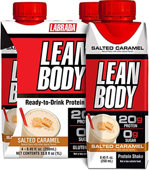 LABRADA NUTRITION - Lean Body RTD Whey Protein Shake, Convenient On-The-Go Meal Replacement Shake for Men & Women, 20 grams of Protein – Zero Sugar, Lactose & Gluten Free, Salted Caramel (Pack of 16)