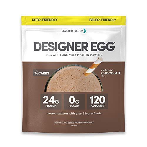 DESIGNER PROTEIN WHEY Paleo-friendly Egg White & Yolk Protein Powder, Dutch Chocolate, 12.4 Ounce