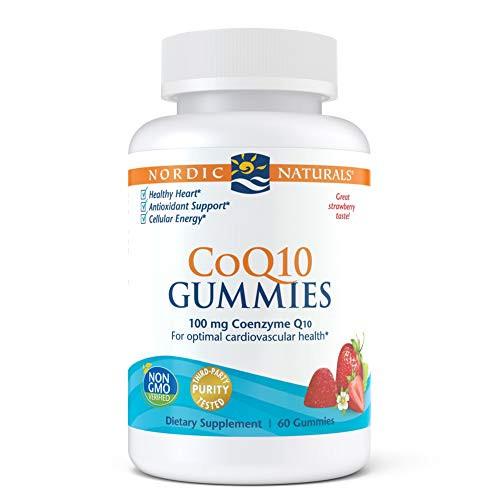 Nordic Naturals CoQ10 Gummies, Strawberry - 100 mg Coenzyme Q10 (CoQ10) - 60 Gummies - Great Taste - Heart Health, Cellular Energy Production, Antioxidant Support - Non-GMO, Vegan - 60 Servings