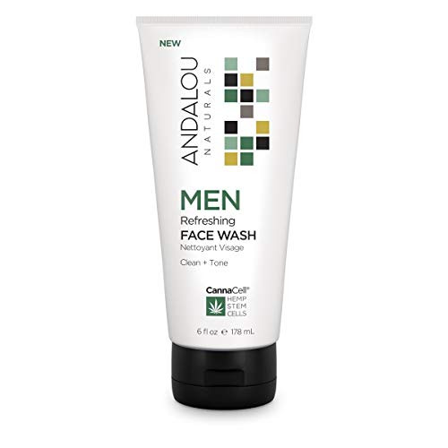 Andalou Naturals Men Refreshing Face Wash with CannaCell, 6 Ounces