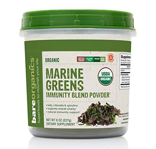 BareOrganics Marine Super Greens Powder | USDA Organic, Gluten-Free, Vegan, Non-GMO, BPA-Free | Kelp, Chlorella, Spirulina, 8oz