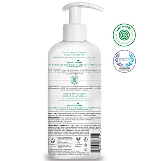 ATTITUDE Baby Shampoo and Body Wash 2-in-1, EWG Safe Hypoallergenic & Vegan, Extra Gentle On Sensitive Skin, Sweet Apple, 16 Fl Oz