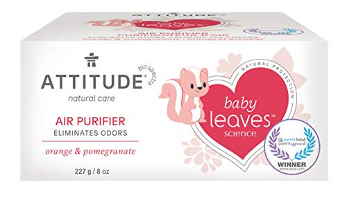 ATTITUDE Natural Air Purifier with Activated Carbon Filter, Hypoallergenic, Perfect for Baby's Room, Traps Air Pollutants, Orange & Pomegranate, 8 oz