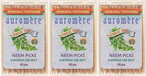 Auromere Ayurvedic Neem Toothpicks - Vegan, Natural, Non GMO, Made from Birchwood (100 Count), 3 Pack