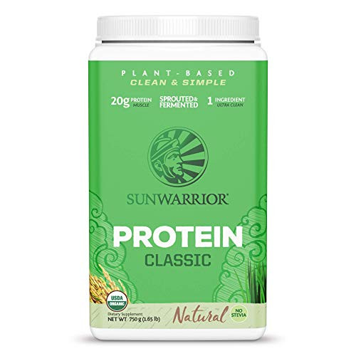 Sunwarrior Classic Vegan Sprouted Brown Rice Protein Powder (30 Servings, Natural)
