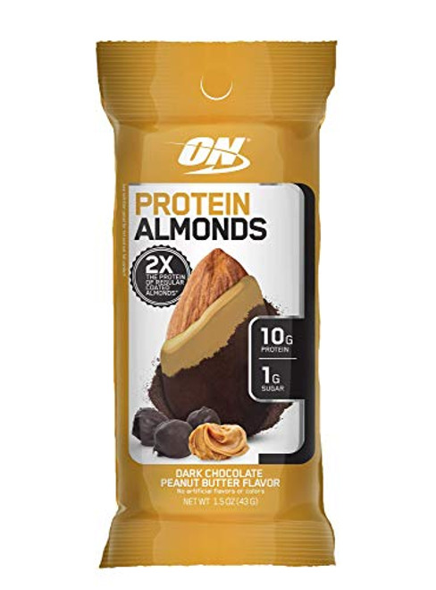 Optimum Nutrition Protein Almonds Snacks, On The Go Nutrition, Flavor: Chocolate Peanut Butter, Low Sugar, Made with Whey Protein Isolate, 1.5 Ounce (Pack of 12)