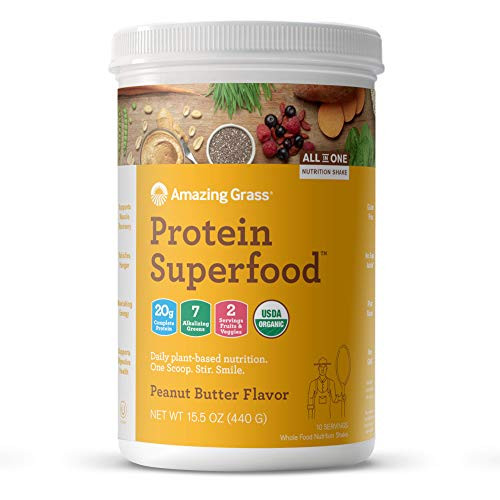 Amazing Grass Protein Superfood: Organic Vegan Protein Powder, Plant Based Meal Replacement Shake with 2 servings of Fruits and Veggies, Peanut Butter Flavor, 10 Servings, 15.5 Ounce (Pack of 1)