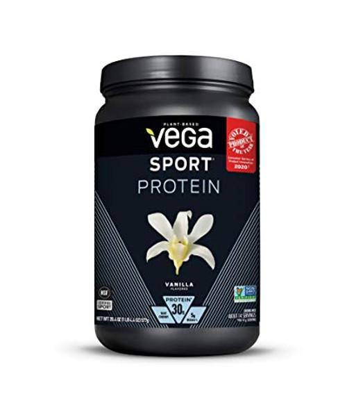 Vega Sport Protein Powder Vanilla (14 servings, 20.4 oz) - Plant-Based Vegan Protein Powder, BCAAs, Amino Acid, tart cherry, Non Dairy, Gluten Free, Non GMO (Packaging May Vary)