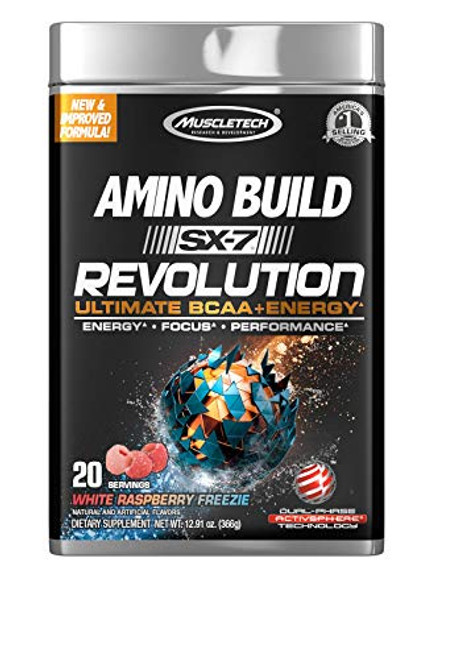 Pre Workout BCAA Amino + Energy   MuscleTech Amino Build SX-7 Revolution   10g of BCAAs + Electrolytes   Support Muscle Recovery, Build Lean Muscle, Boost Endurance   White Raspberry Freezie (20 Serv)