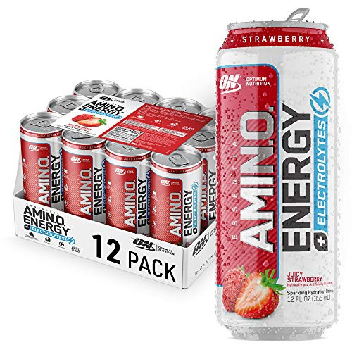 Optimum Nutrition Amino Energy Electrolytes Sparkling Hydration Drink - Pre Workout, BCAA, Keto Friendly, Energy Drink- Juicy Strawberry, 12 Count