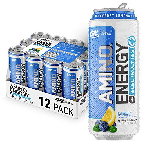 Optimum Nutrition Amino Energy + Electrolytes Sparkling Hydration Drink - Pre Workout, BCAA, Keto Friendly, Energy Drink - Blueberry Lemonade, 12 Count
