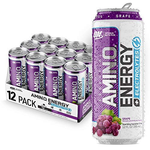 Optimum Nutrition Amino Energy + Electrolytes Sparkling Hydration Drink - Pre Workout, BCAA, Keto Friendly, Energy Drink - Grape, 12 Count