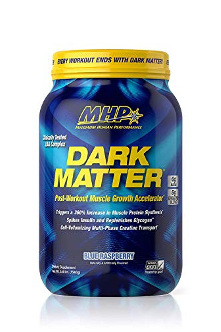 MHP Dark Matter Post Workout, Recovery Accelerator, w/Multi Phase Creatine, Waxy Maize Carbohydrate, 6g EAAs, Blue Raspberry, 20 Servings, 55.04 oz