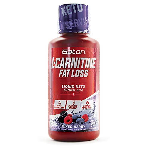 iSatori L-Carnitine Liquid Fat Burner and Metabolism Activator - Fat Loss for Health and Fitness - Keto Friendly Weight Loss - Stimulant Free - Mixed Berry 1500mg (24 Servings)