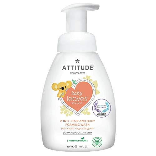 ATTITUDE 2-in-1 Natural Hair and Body Foaming Wash for Baby, EWG Verified Shampoo, Hypoallergenic Bath Soap, Pear Nectar, 10 Fl. Oz.