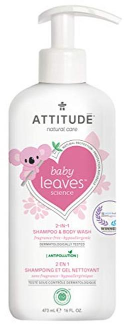 ATTITUDE Baby Shampoo and Body Wash 2-in-1, EWG Safe Hypoallergenic & Vegan, Extra Gentle On Sensitive Skin, Unscented, 16 Fl Oz