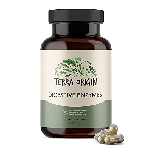 Terra Origin - Digestive Enzymes with Probiotics   Supports Healthy Digestion   Bromelain, Lactase, Amylase, Lipase   Made in The USA, Gluten-Free   60 Servings