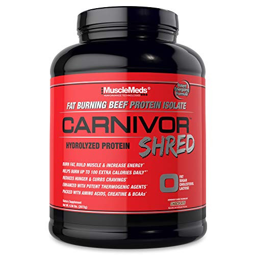 MuscleMeds Carnivor Shred Fat Burning Hydrolized Beef Protein Isolate, 0 Lactose, 0 Sugar, 0 Fat, Chocolate, 4.56 Pound