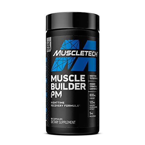 Muscle Builder PM | MuscleTech Nighttime Post Workout Recovery Formula | Testosterone Booster for Men + Enhance Strength & Lean Muscle | 5mg Melatonin Sleep Supplement | Decrease Estradiol | 90 Count