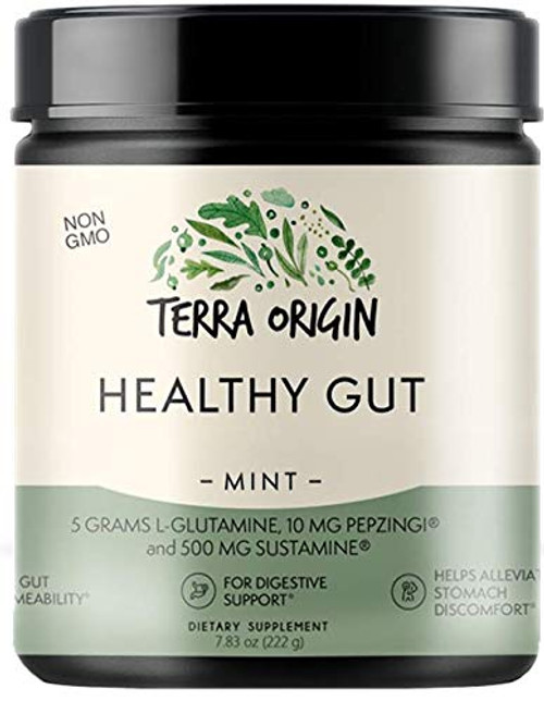 Terra Origin Healthy Gut Digestive Support Supplement, Powder, Mint Flavor, 30 Servings, Includes L-Glutamine, Herbs, Antioxidants for Leaky Gut Support, Promotes Healthy Digestion