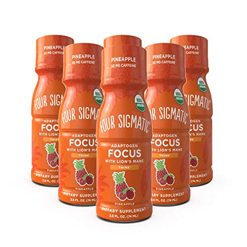 Four Sigmatic Mushroom Focus Shot, Organic Lion's Mane, Rhodiola & Pineapple Juice, Tastes Like Pineapple, Supports Focus & Memory, Ready to Drink + Natural, 6 Count
