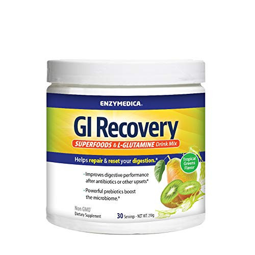 Enzymedica, GI Recovery, Digestive Drink Mix with Prebiotic Fiber and Superfoods, Tropical Greens, 30 Servings
